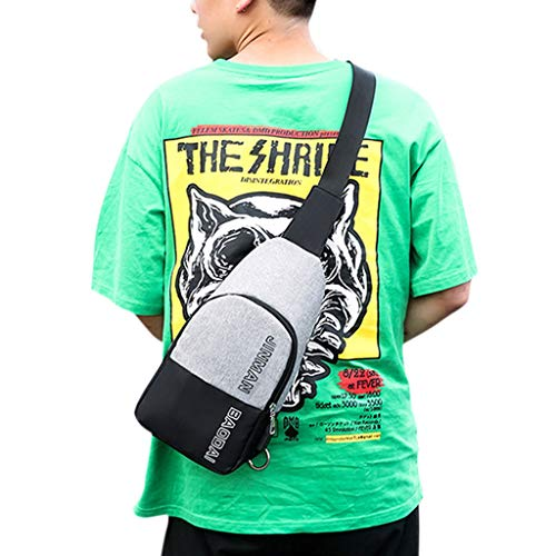 Headset BYNNIX Bags Chest Charging Bag Gray Sling Crossbody USB Shoulder Hole Port Men with CCrqP