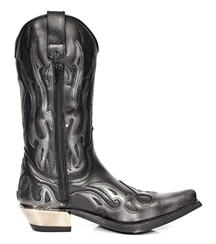 Real Leather Cowboy Boots Black Pewter Flame New Rock Pointed Toe Western Heel - A17921S3 cheap clearance 8l1jWa