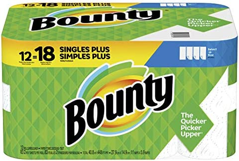 Bounty Select-A-Size Paper Towels, White, 12 Single Plus Rolls = 18 Regular Rolls