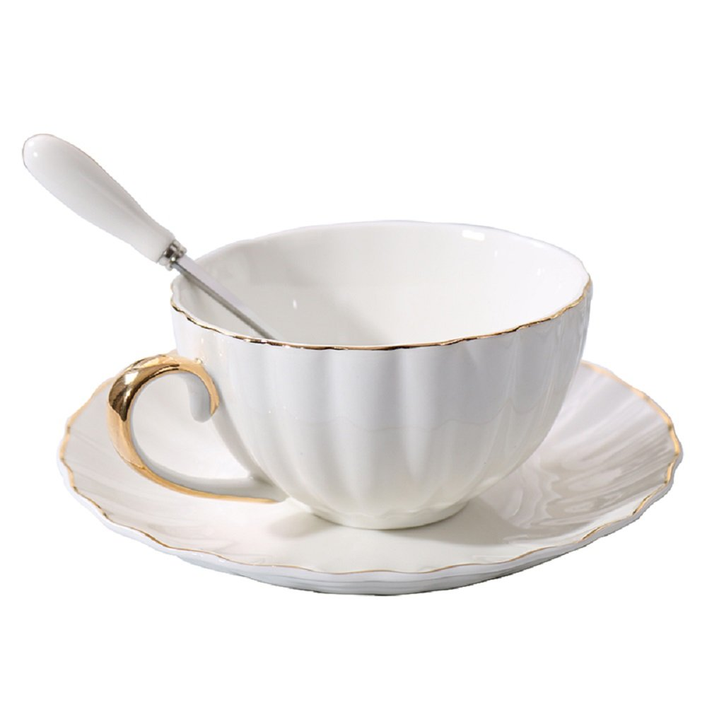 NDHT Bone China Bone China Teacups/Coffee Cups & Saucers Sets with Spoons-200ML, for Home,Restaurants, Display for Family or Friends,White And Golden Edge,with gift box(1 Sets)