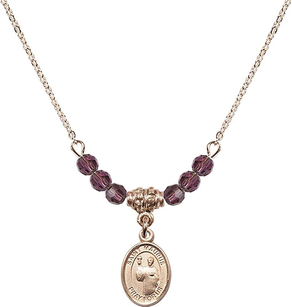 18-Inch Hamilton Gold Plated Necklace with 4mm Amethyst Birthstone Beads and Gold Filled Saint Maurus Charm.