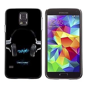 Be Good Phone Accessory // Dura Cáscara cubierta Protectora Caso Carcasa Funda de Protección para Samsung Galaxy S5 SM-G900 // Headphines Music Electricity Blue Style
