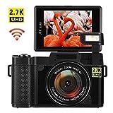 Vlogging Camera Digital Camera 24MP Ultra HD 2.7K WiFi YouTube Camera 3.0 Inch 180 Degree Rotation Flip Screen Camera Retractrable Flashlight (GI3)