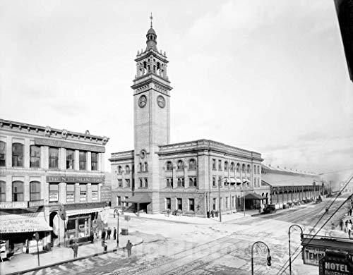 Restored Black & White Photo - Historic Minneapolis, Minnesota - The Milwaukee Road Depot, c1908-20in x 16in