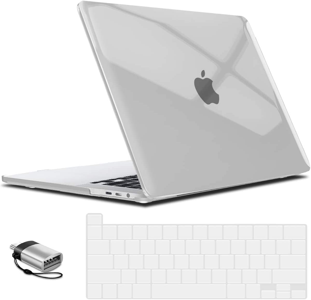 IBENZER MacBook Pro 16 Inch Case A2141 Release 2020 2019, Hard Shell Case with Keyboard Cover & Type C Adapter for Apple Mac Pro 16'' with Touch Bar and Touch ID, Crystal Clear, T16CYCL+1TC