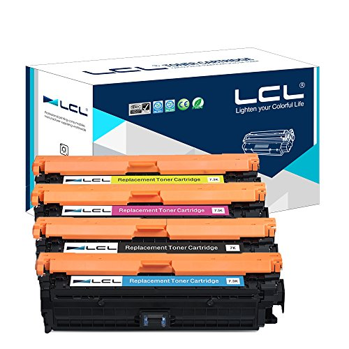 LCL Compatible for HP 307A CE740A CE741A CE742A CE743A (4-Pack Black Cyan Magenta Yellow) Toner Cartridge for HP Color Laserjet CP5225 CP5225n CP5225dn
