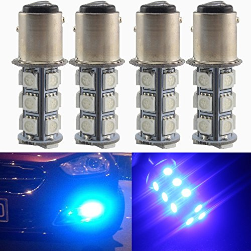 Everbright 4-Pack Blue 1016 / 1034 / 1157 BAY15D Base 18 SMD 5050 LED Replacement Bulb For RV SUV MPV Car Turn Tail Signal Bulb Brake Light Lamp Backup Lamps Bulbs High LUMS (1157 Base)
