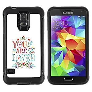 All-Round Hybrid Rubber Case Hard Cover Protective Accessory Compatible with SAMSUNG GALAXY S5 - are love quote couples valentines