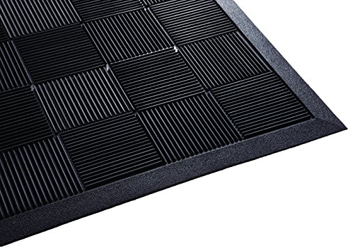 Parquet Wiper Scraper Outdoor Floor Mat, Rubber, 3x5 ft, Black, Removes Dirt and Handles Multi-direction Traffic (Pan Blade Wiper)