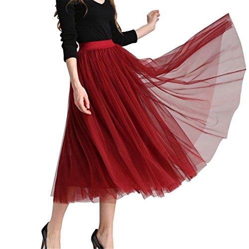 A Tulle Longue En Femme Rouge Elastique Taille Vin Haute Plissée ligne Jupe Oudan 1R8xIwwp