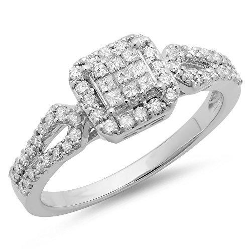 Diamond Split Shank Ring - Dazzlingrock Collection 0.60 Carat (ctw) 14K Princess & Round Cut Diamond Ladies Split Shank Engagement Ring, White Gold, Size 7