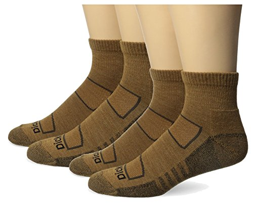 Dickies Men's All Season Merino Wool Light Cushion Quarter Socks, Duck, 4 Pair