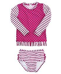 RuffleButts Infant / Toddler Girls Berry Striped Polka LS Rash Guard Bikini - Purple - 12-18m