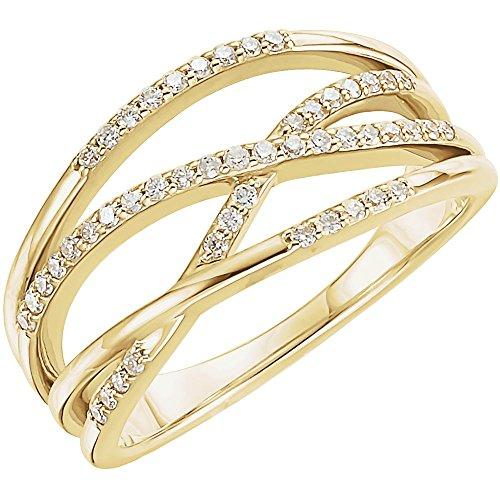 (14k Yellow Gold 0.2 Dwt Diamond Freeform Ring - Size 6.5)