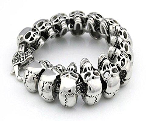 Vineds Fashion Sterling Silver Skull Head Gothic Mens Titanium Steel Bracelet