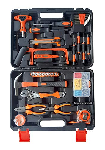 IBELL TB145-9, 145 Piece Socket Alloy Steel Wrench Auto Repair Tool Combination Package Mixed Tool Set Hand Tool Kit with Plastic Toolbox Storage Case 1