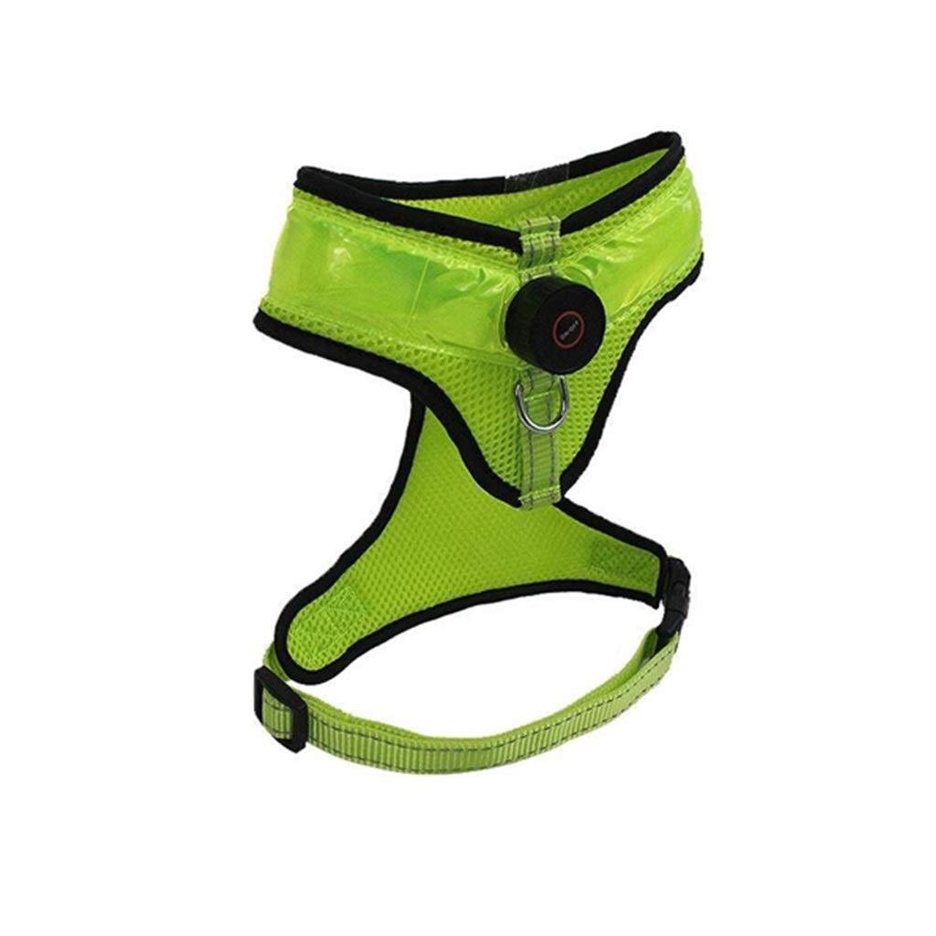 Green L Green L PLDDY French Bulldog golden Retriever Chest Girdle Dog Leash Medium Dog Large Dog Dog Leash Dog Harness Dog Vest Pet Supplies LED Light (color   Green, Size   L)