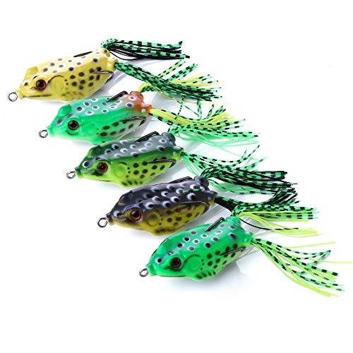- OriGlam 【Happy Shopping Day】 5pcs Topwater Frog Lures, Frog Crankbait Tackle, Frog Fishing Lures Soft Fishing Baits, Hollow Body 3D Eyes Frog Lure Weedless Swimbait with Hook for Bass Pike