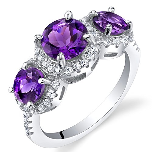 Amethyst Sterling Silver 3 Stone Halo Ring Size 8 Sterling Silver Cut Gemstone