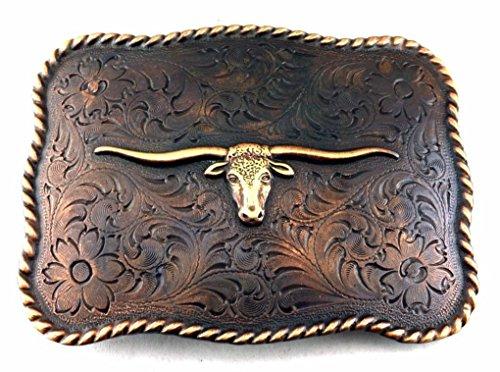 Letter Love Fashion Western Texas Longhorn Steer Bull Trophy For Leather Cowboy Copper Belt Buckle (Copper Womens Belt Buckle)