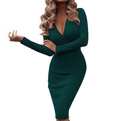 Women Wrap Bodycon Cocktail Dress | Ladies Elegant Empire Waist Slim Pencil Long Sleeve Midi Dresses | Party Pageant Dress: Garden & Outdoor