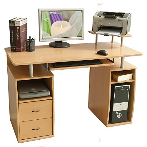 Merax Essential Home Office Computer Desk with Pull-Out Keyboard Tray and Drawers (Beech) (Cabinet With Desk Cpu Computer)