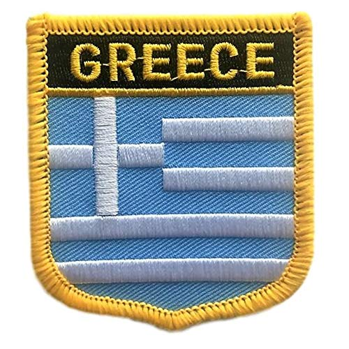 Greece Flag Shield Travel Patch/International Iron On Badge (Greek Crest, 2.75