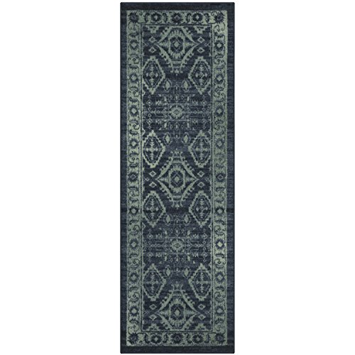 Runner Rug, Maples Rugs [Made in USA][Georgina] 2' x 6' Non Slip Hallway Entry Area Rug for Living Room, Bedroom, and Kitchen - Navy Blue/Green