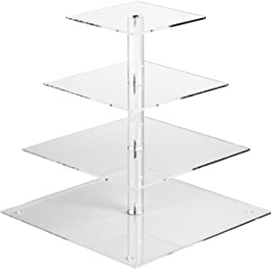 YestBuy 4 Tier Maypole Square Wedding Party Tree Tower Acrylic Cupcake Display Stand (12.6 Inches) …