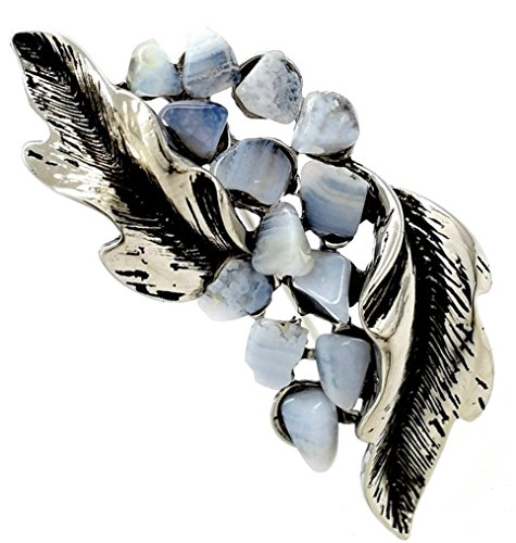 Superbe Vintage naturel bleu Calcédoine pierres Broche/broches