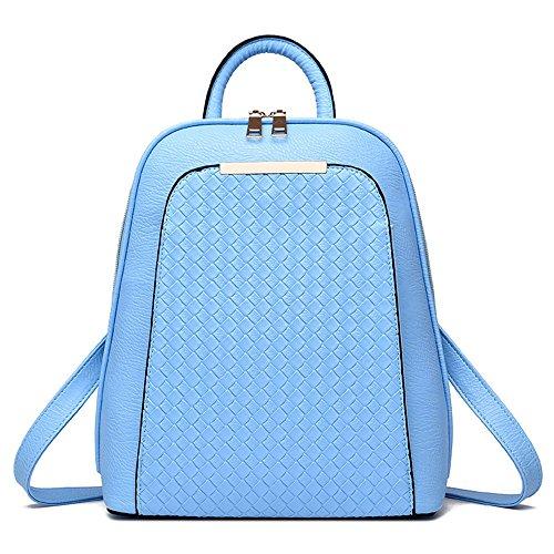 Wewod Mujeres Mochilas Moda de Escolares Niña de Sólido Color Mochilas Tipo Casual Bolso Escolar de Patrón de Tejer de PU Cuero 26 x 30 x 13 cm (L X H x W ) Azul