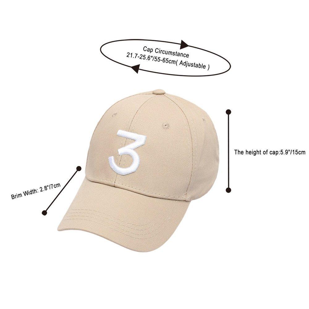 Rock Hip Hop Classic Casquette with Adjustable Strap Cotton Sunbonnet Plain Hat IVYRISE Embroider Chance Baseball Caps Hats Cool Baseball Rapper Number 3 Caps