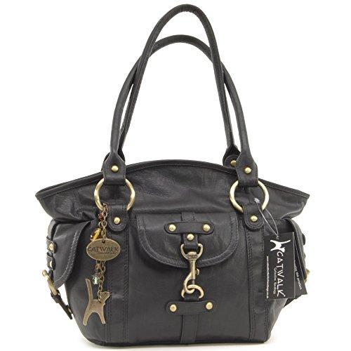 Catwalk Collection Leather Handbag - Karlie Black