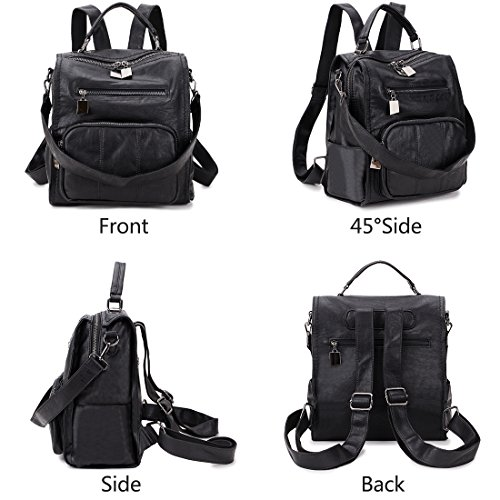 Bag Mini RAVUO Backpack Backpack by Women Backpacks Rucksack School Leather Purse Fashion 3 Ladies Black PU Shoulder Way g6gCq0w