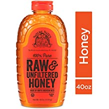 Nature Nate's 100% Pure Raw & Unfiltered Honey; 40-oz. Squeeze Bottle; Certified Gluten Free and OU Kosher Certified; Enjoy Honey's Balanced Flavors, Wholesome Benefits and Sweet Natural Goodness