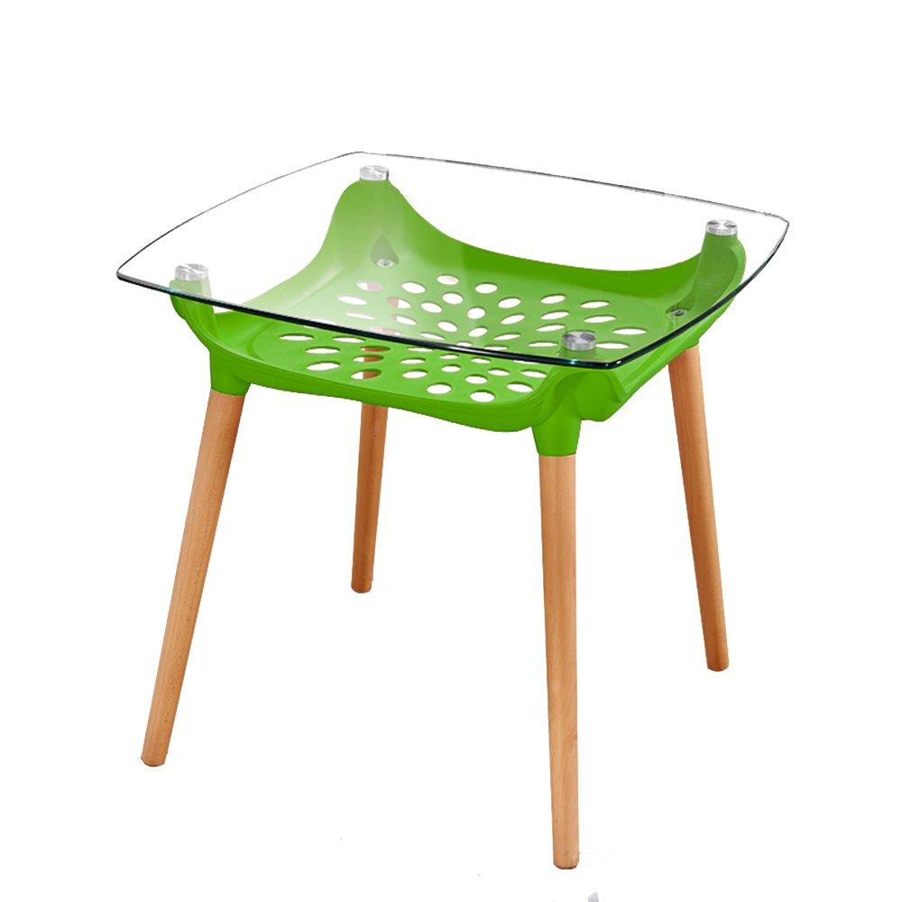 YD サイドテーブル バルコニーの純木のダイニングテーブルの家族の使用ガラステーブル、コーヒーテーブル、二重層の設計 /& (色 : Green) B07MG8ZN6P Green