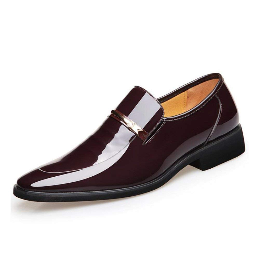 FuweiEncore Männergeschäft Spitze Zehenschuhe, Glänzende Lackleder Schuhe, Comfort Formale Schuhe, Schuhe, Schuhe, Uniform Kleider Schuhe Hochzeit Casual Party,braun,43 (Farbe   Wie Gezeigt, Größe   Einheitsgröße) 663d78