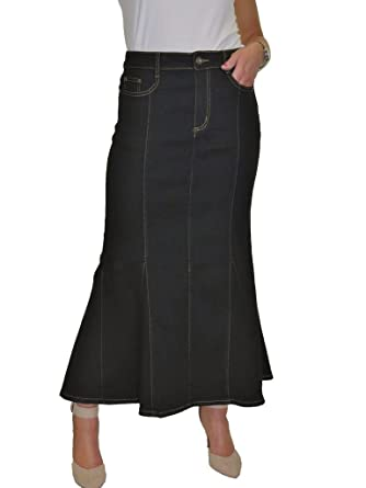 ICE Fishtail Maxi Long Jeans Skirt Stretch Denim Black 8 18 8 At