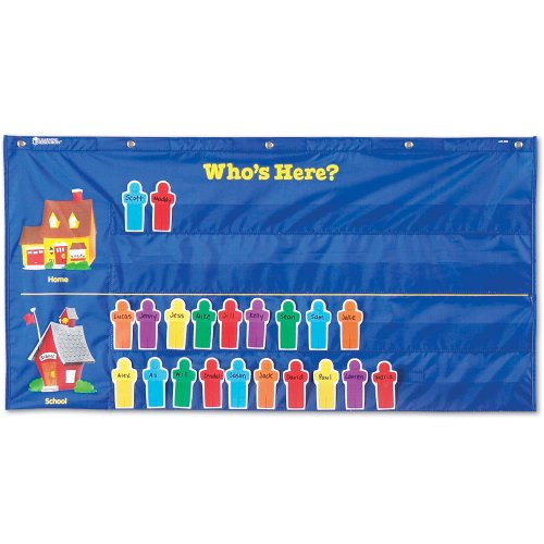 Helping Hands Pocket Chart - Learning Resources Attendance Pocket Chart, Blue