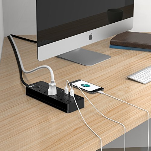 [Over-Load Switch Control] iClever IC-BS03 Smart Power Strip | USB Desktop Charger, 6 AC Outlets + 6 USB Port, 4320 Joules Surge Protector 5ft Extension Cord, Black by iClever (Image #7)
