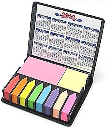 Colored Sticky Note Bundle Set, Mini rectangular notas y índice banderas organizador, con dos año calendario. Diseño de imitación de piel, gran regalo de maestros. Por Mega Stationers: Amazon.es: Oficina y papelería