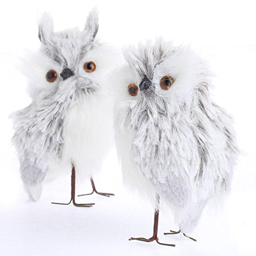 Hoot Sweet Pair Of Fluffy And Soft Pygmy Artificial Owls With Handwired Feet For Decorating  Crafting And Collecting