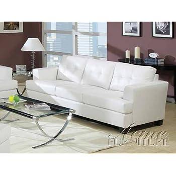 acme 15095 bonded leather sofa white - White Leather Sofa