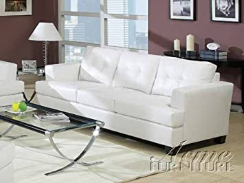 Amazoncom ACME 15095 Bonded Leather Sofa White Kitchen Dining