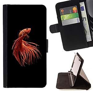 - gold fish pet minimalist red black tail - - Prima caja de la PU billetera de cuero con ranuras para tarjetas, efectivo desmontable correa para l Funny HouseFOR Apple Iphone 6