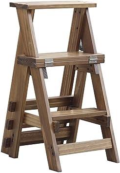 Geyao Silla multifunción de madera maciza de tres pisos Escalera de doble uso Hogar Taburete ascendente Escalera de madera interior Escalera Silla Nogal Color 34 × 44 × 68,5 cm: Amazon.es: Bricolaje y herramientas