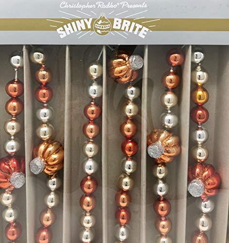 Shiny Brite 7 Feet Silver & Orange Glass Pumpking Halloween Garland - by Christopher Radko]()