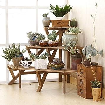 Charlotte, 3 niveles Madera de pino Conner pie Flower Pot rack Paso estilo soporte de almacenamiento, tres colores: Amazon.es: Jardín