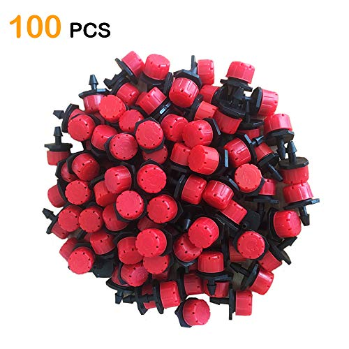 Korty 100pcs 360 Degree Adjustable Irrigation Drippers Sprinklers, 1/4 Inch Emitters Drip for Watering System