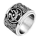 FANSING Costume Jewelry Valentine's Day Gift Mens Stainless Steel Chinese Ancient Guardian Beast Spinner Rings Size 11